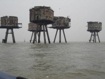 WWII abandoned bunkers on the coast of Britain