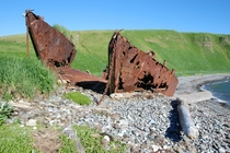 WWII landing craft on Agattu Island Aleutians  Melinda Webster photograph Link to more abandoned Gulf of Alaska in comments