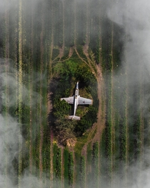 X-post An actual image of a PZL TS- Iskra hidden away in the middle of the polish countryside Photo credit  Tom Dolmann