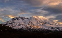 Sunset at Mount Saint Helens during a nice clear winter day