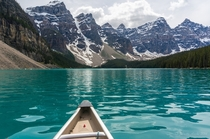 x-post from rTrueNorthPictures Canoeing on Moraine Lake Alberta Canada  by Janette Asche