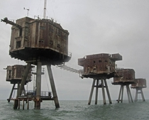 x These are Maunsell Sea Forts used by the British during WW to deter enemy air raids Although abandoned many of them still stand today