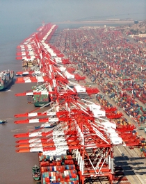 Yangshan Port in Hangzhou Bay south of Shanghai