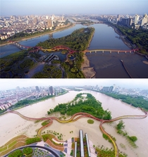 Yanweizhou park was designed to flood during the monsoon season to help prevent the city of Jinhua China from flooding