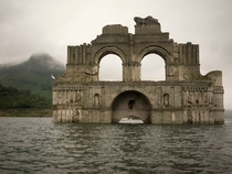 -year-old ruins of the Temple of Quechula that submerged in Mexicos Nezahualcoyotl reservoir in