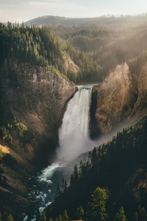 Yellowstone Falls at Sunset  IG andrewattsbro