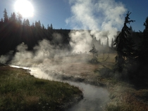 Yellowstone  MrBubbles Hot Springs  Early Morning