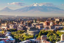 Yerevan Armenia at the foot of Mount Ararat