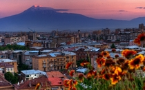 Yerevan Armenia with mount Ararat in the background