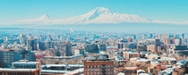 Yerevan Armenia with Mount Ararat m in the background the mountain has been perceived as the resting place of Noahs Ark since the th century