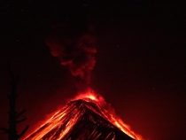 Yesterday last night I climbed volcn Acatenango in Antigua Guatemala amp watched Volcn de Fuego erupt all night Simply breathtaking