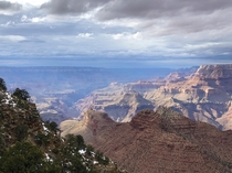 Yesterday was my first time to the Grand Canyon It was cloudy then the sun poked through and everything changed