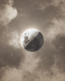 Yesterdays Moon between clouds -  illuminated - Wallpaper linked in the comments
