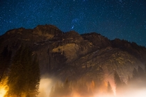 Yosemite at night during the winter