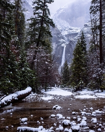 Yosemite creek and Lower Yosemite Falls from this past winter