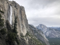 Yosemite Falls with Half Dome in the background Overcast really added to the granite mood