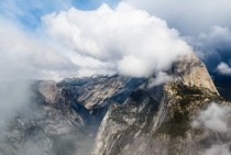 Yosemite Half Dome Through the Clouds