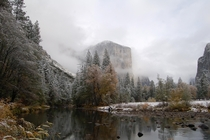 Yosemite in November after first snow dusting