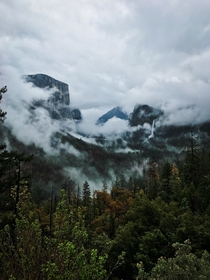 Yosemite revealed through clouds two days ago