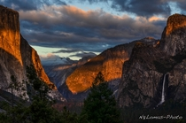 Yosemite Valley and Half Dome behind the clouds from Tunnel View