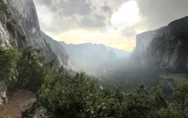 Yosemite Valley looking like a Jurassic World after a midday rain View from the Four Mike Trail