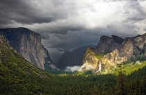 Yosemite Valley with the sun shining through overcast skies