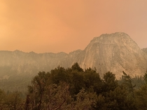 Yosemite was spooky over the holiday weekend due to fires Middle Cathedral Rock Yosemite National Forest California