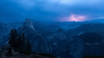 Yosemites Half Dome during a lightning storm