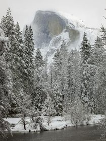 Yosemites Half Dome in the snow and fog