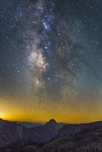 Yosemites Half Dome underneath The Lagoon Nebula and The Galactic Core