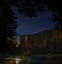 Yosemites Horsetail Firefalls by Moonlight not sunset