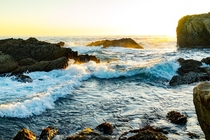 You guys were so sweet last month with my Lake Tahoe photo So here is one of my favorites - the last golden hour light shining on waves at Point Lobos Carmel-by-the-Sea California