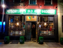 You have two choice light or dark beer McSorleys NYC