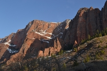 Youve gotta love the snowy red cliffs of Zion National Park
