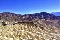 Zabriskie Point view over sediments of the former Furnace Creek Lake Death Valley USA