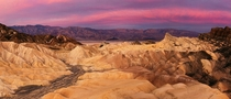 Zabriskie Sunrise Panorama Saturday morning at by Death Valley National Park USA by Phil Varney