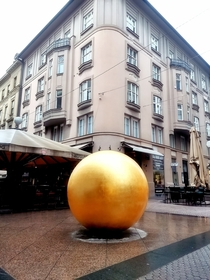 Zagreb has an ambient installation called Nine Views It comprises a scale model of the Solar System The picture shows Sun the bronze sphere around  meters in diameter It s situated in the center of town The system is at scale    so earth model is  cm in s