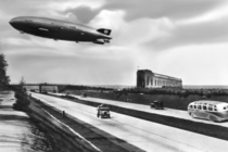 Zeppelins LZ  Hindenburg flying across the Reichsautobahn at Frankfurter Luftschiffhafen in the s  x-post from rAutobahn