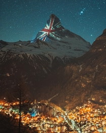 Zermatt Switzerland has been displaying national flags on the Matterhorn to show support during these trying times