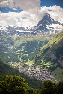 Zermatt Switzerland is utterly dwarfed by the Matterhorn
