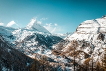 Zermatt Switzerland With the skiing slopes and lifts closed during low season the valley becomes quiet My favourite time for an early morning hike This year with snowshoes due to an early snowstorm