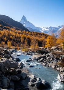 Zermatt with the Matterhorn in autumn colours
