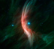 Zeta Ophiuchi and the shockwave yellow arc created by the runaway star