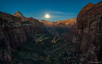Zion Canyon Overlook during moonset