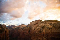 Zion National Park - Angels Landing At Sun Rise