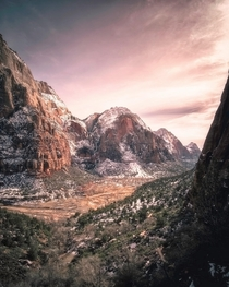 Zion National Park on a cold winters evening  x