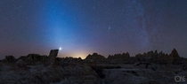 Zodiacal Light Andromeda Galaxy Venus and a meteor in Badlands SD