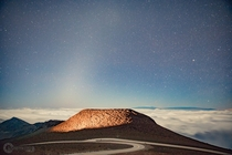 Zodiacal Light atop Haleakals  ft summit just before sunrise - Maui Hawaii