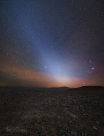 Zodiacal Light or false dawn taken at night along the eastern horizon above Chiles Atacama desert Photo by Yuri Beletsky