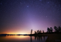 Zodiacal light over Lake Tahoe from Sand Harbor Shot on Valentines day   x-post from rskyporn